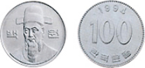 front of 100-won coin issued on 15.January,1983, back of 100-won coin issued on 15.January,1983