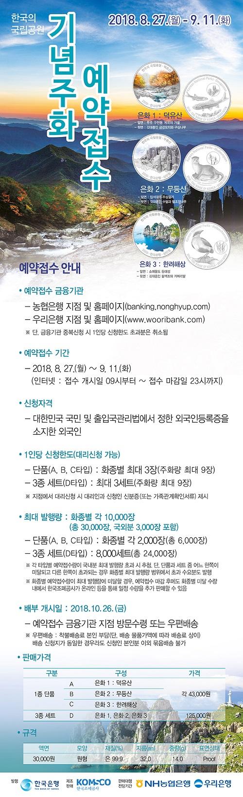 '한국의 국립공원' 기념주화 예약판매 포스터터