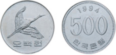 front of 500-won coin issued on 12.June,1982, back of 500-won coin issued on 12.June,1982