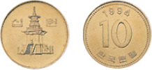 front of 10-won coin issued on 15.January,1983, back of 10-won coin issued on 15.January,1983